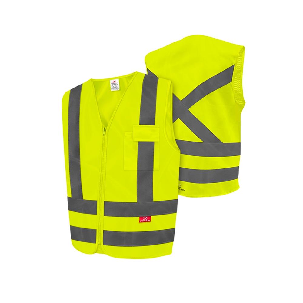 Colete Refletivo 1 Bolso Amarelo Fluorescente STF-VACL91010 STEELFLEX