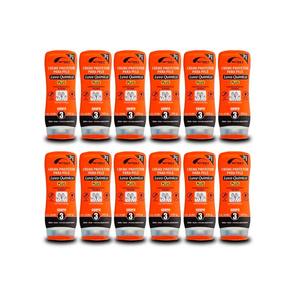 Kit 12 Creme de Proteção P/ Pele Luva Quimica G3 200G NUTRIEX