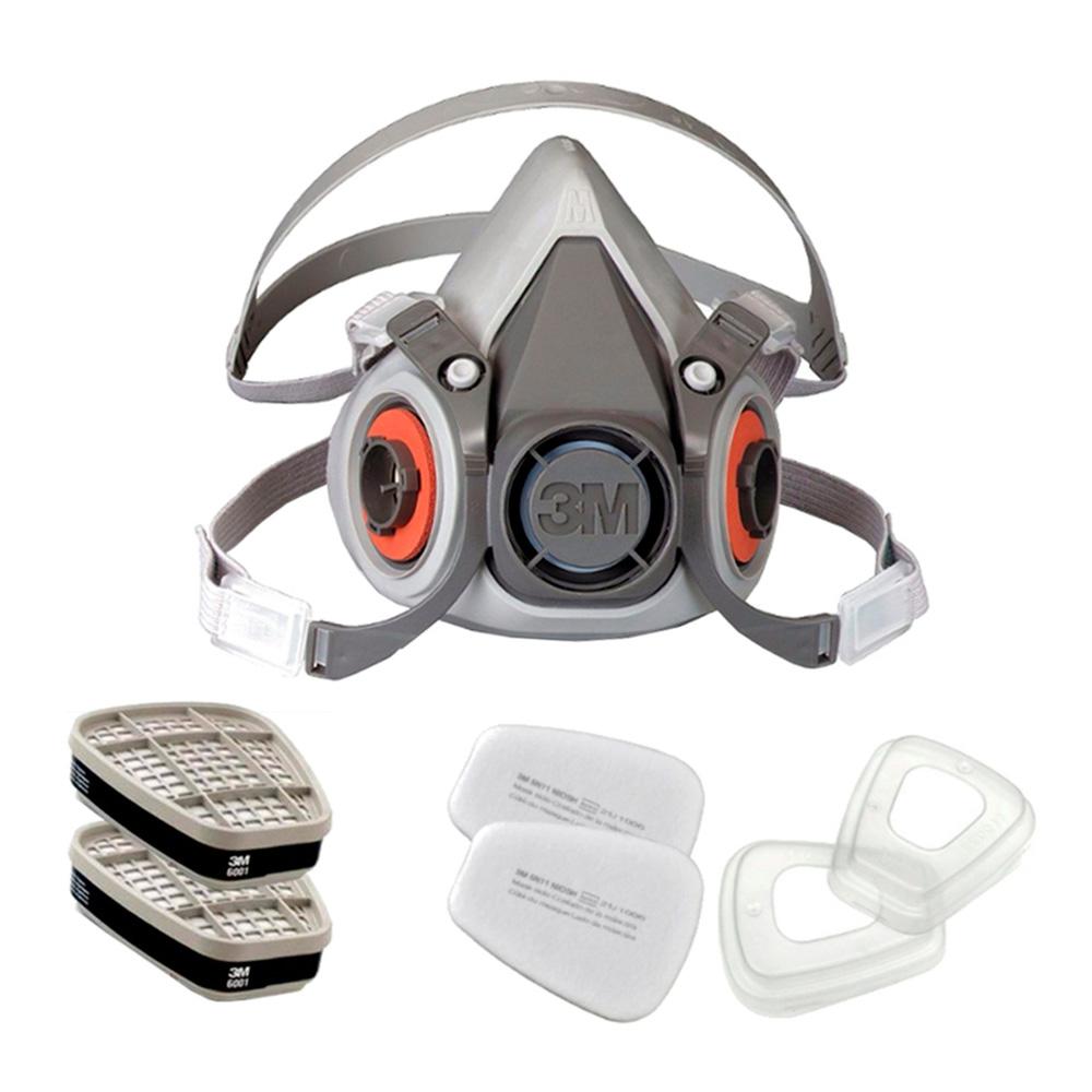 KIT Completo p/ Pintura Respirador 6200 + Filtro 6001 VO + Filtro 5N11 e Retentor 501