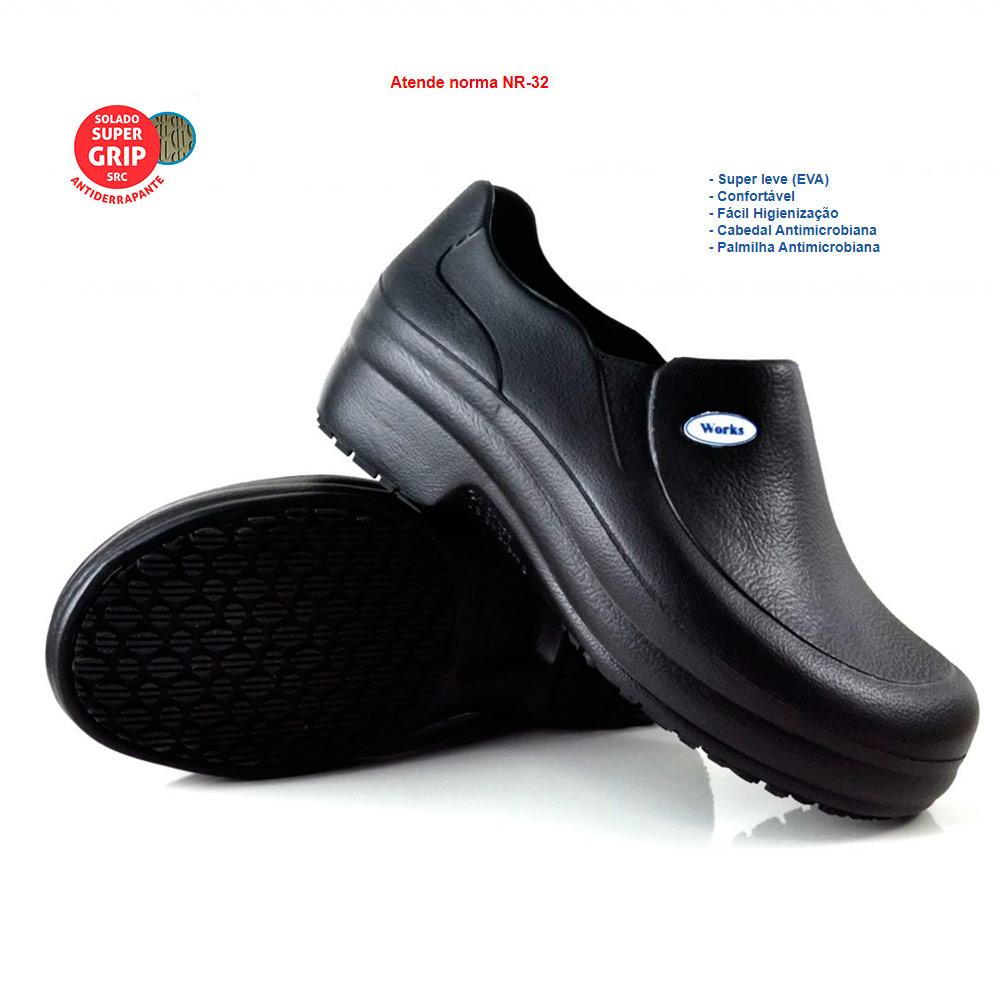Sapato Profissional Antiderrapante Soft Med Work Preto BB65 CA 31898