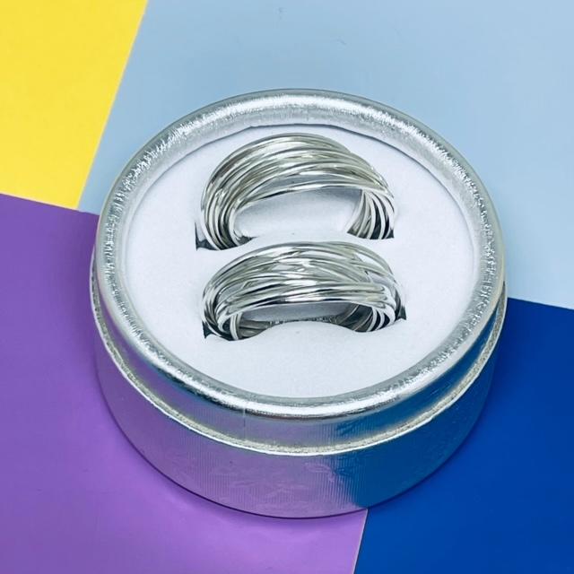 Aliança entrelaçada dez aros prata - Cod 819