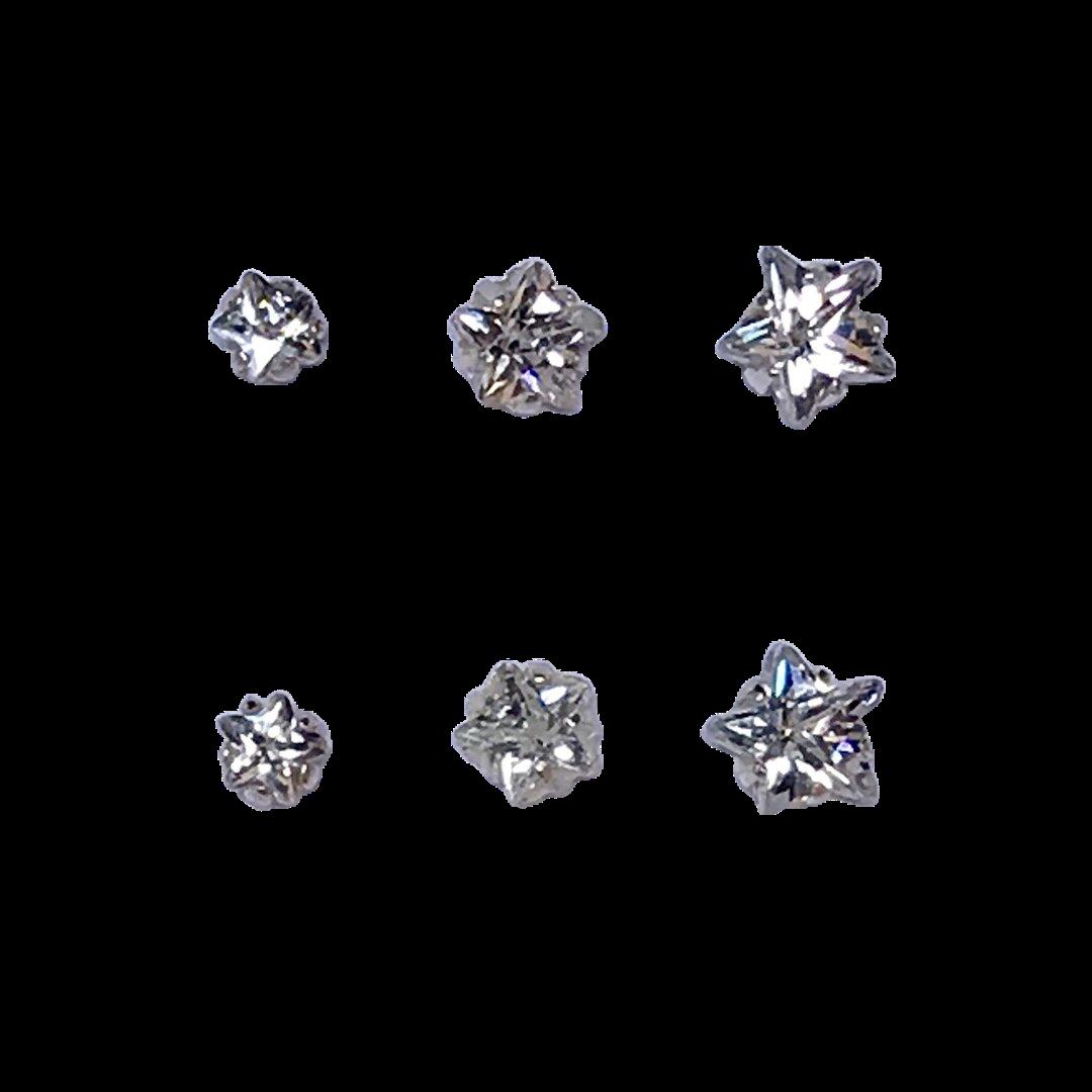 Brincos Três Estrelas Prata