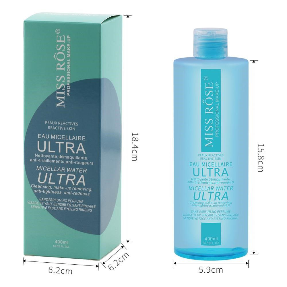 ÁGUA ULTRA MICELAR DEMAQUILANTE MISS RÔSE 400mL