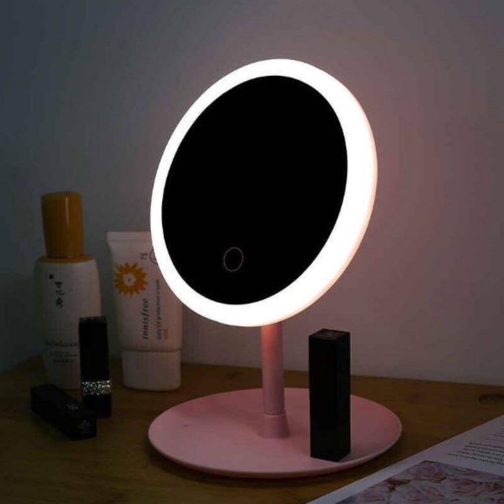 Espelho De Mesa Luz Led Usb Touch Screen P/ Maquiagem Grande