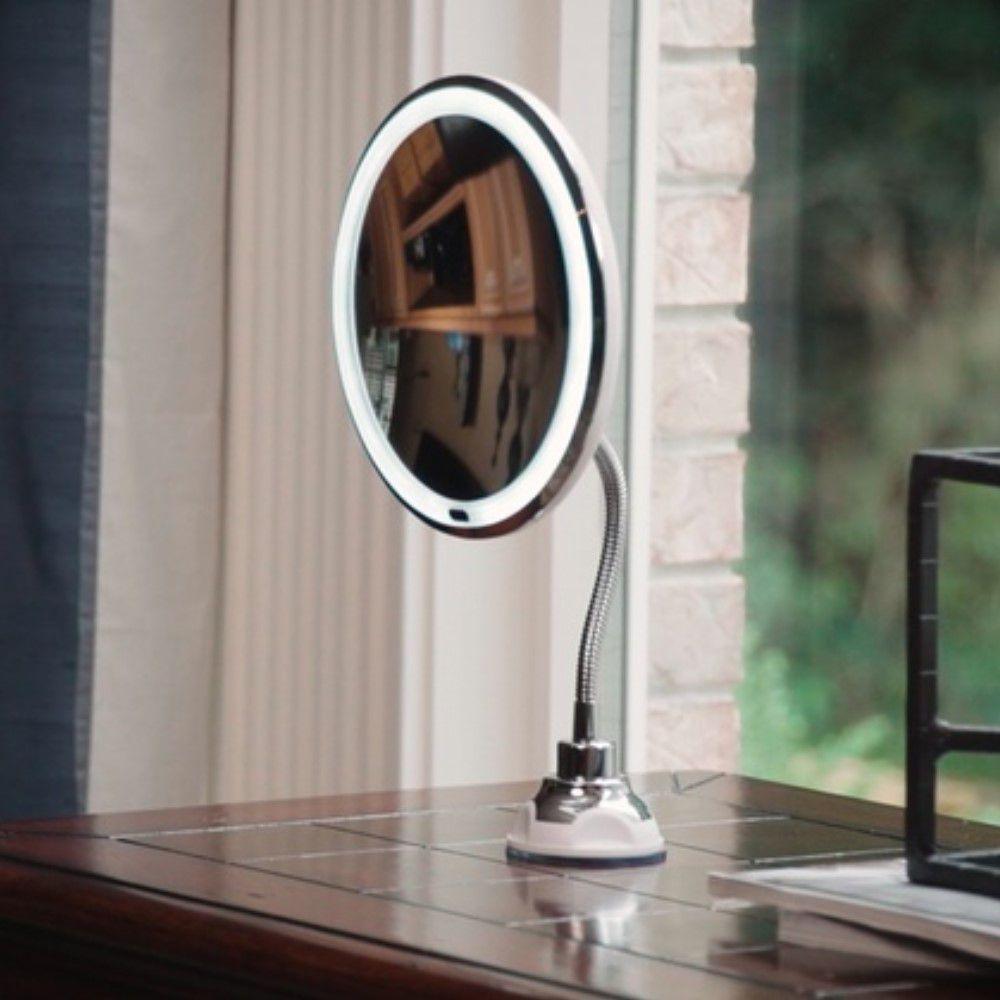 Espelho Led 360 Flexível 5x Aumento Ventosa Para Maquiagem