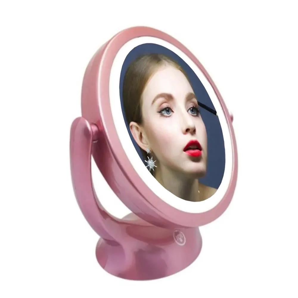 Espelho Ring Light De Mesa Led Touch Maquiagem Dupla Face