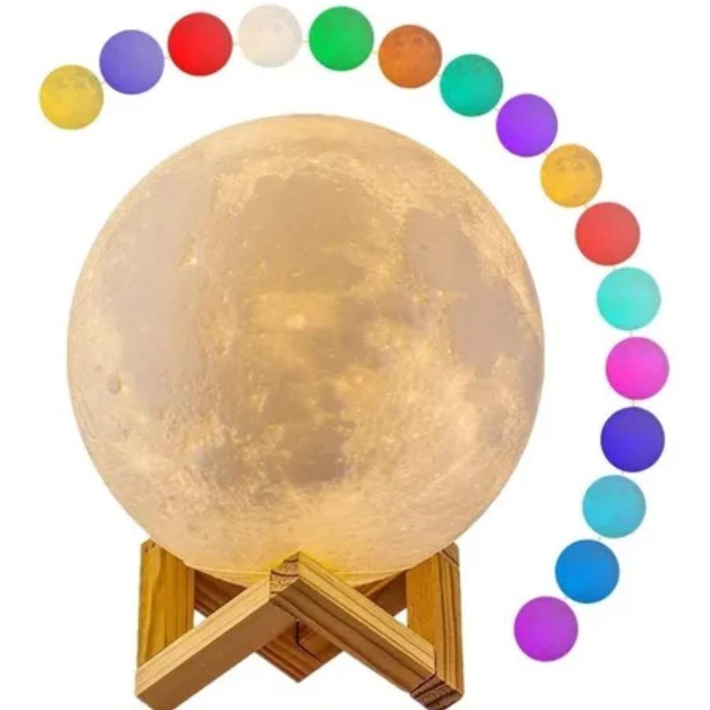 Luminária Lua Cheia 3d Usb Touch 15cm Abajur Para Quarto