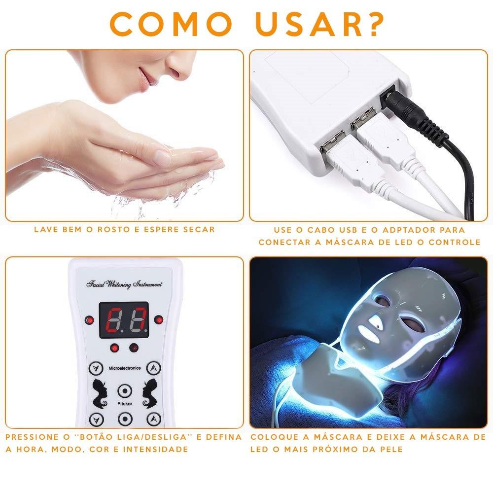 Máscara 7 Cores LED Cromoterapia Colorful Mask GRANDE