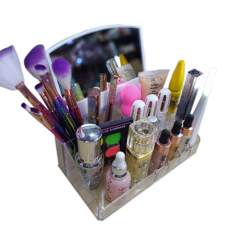 Organizador Porta Maquiagem com Espelho 16 Compartimentos