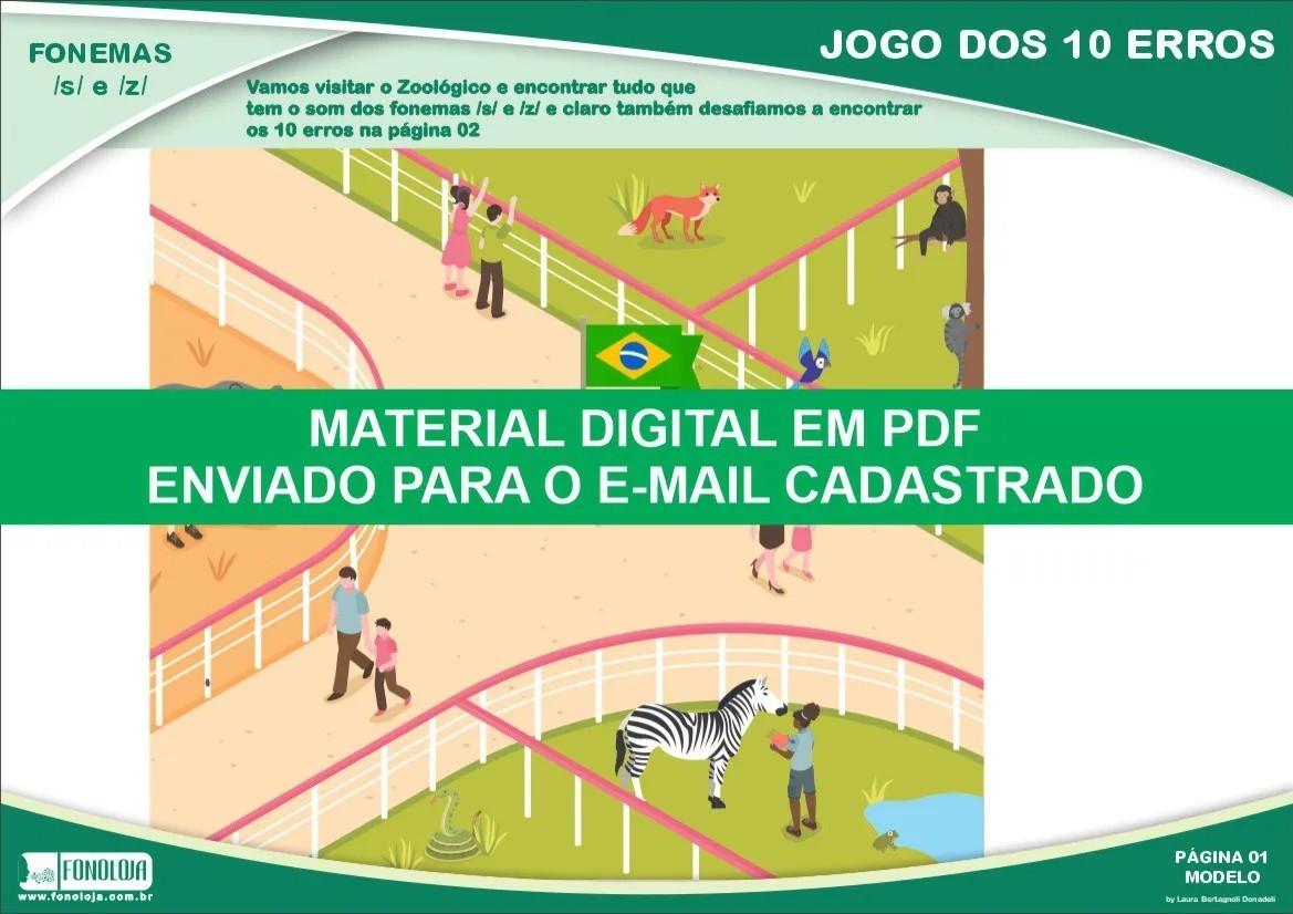 Jogo dos 10 erros - Fonemas /s/ e /z/ - Conjunto com 04 pranchas - Material Digital em PDF