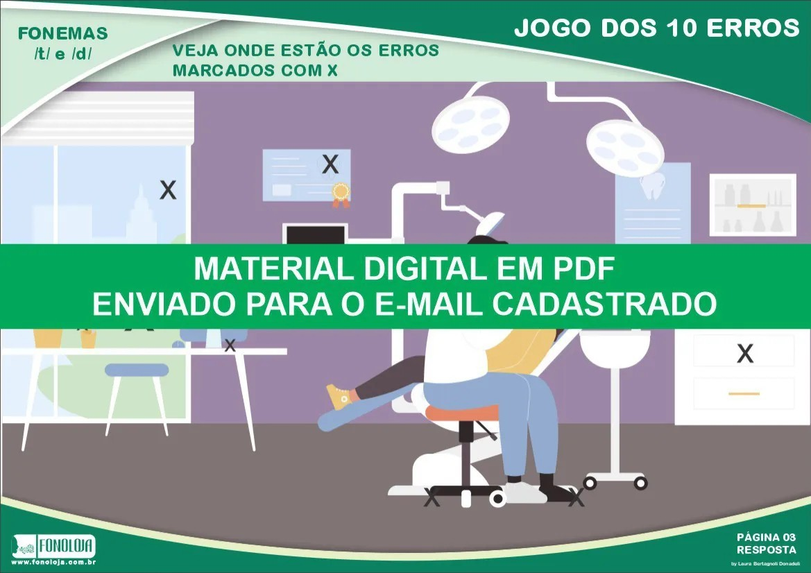 Jogo dos 10 erros - Fonemas /t/ e /d/ - Conjunto com 04 pranchas - Material Digital em PDF