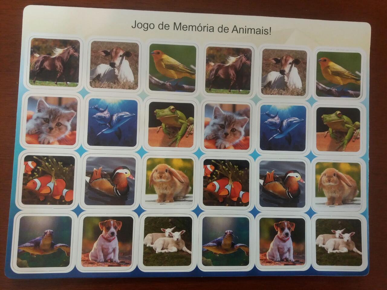 JOGO DA MEMORIA EM EVA COM FOTOS DE ANIMAIS - 20 PEÇAS