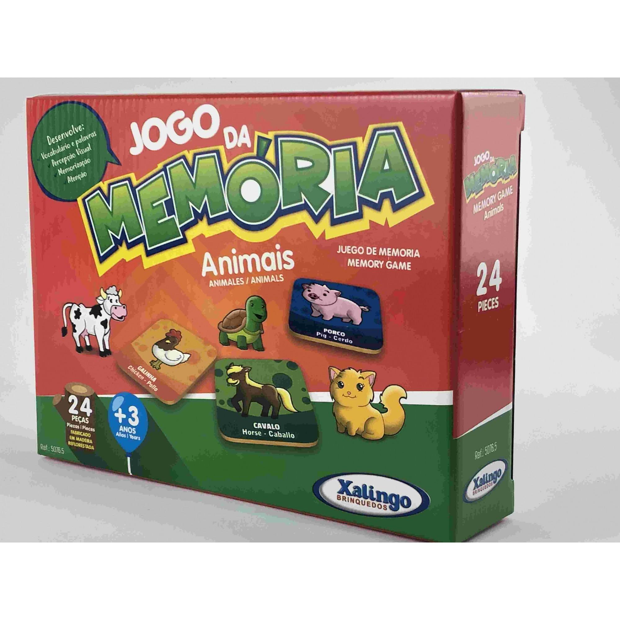 JOGO DA MEMÓRIA TEMA ANIMAIS - PEÇAS EM MADEIRA - 24 PEÇAS