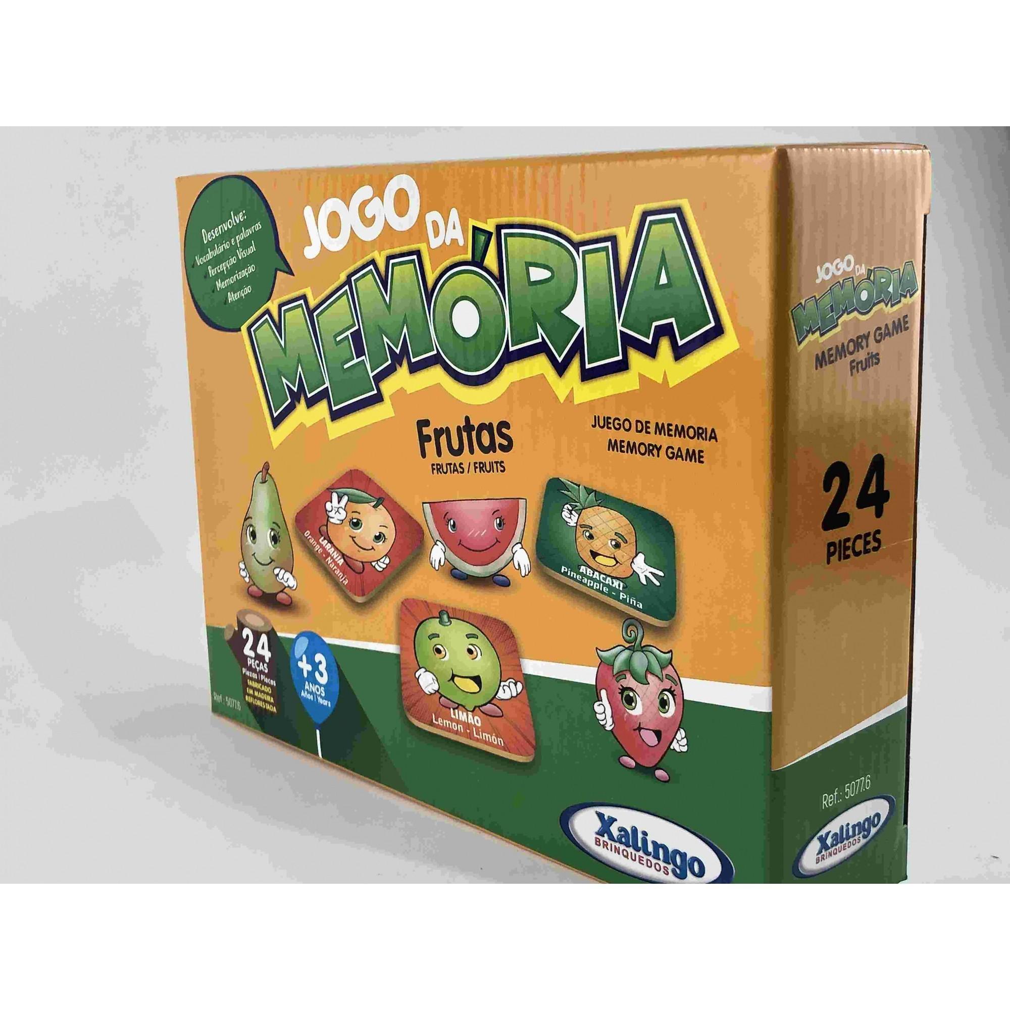 JOGO DA MEMÓRIA TEMA FRUTAS - PEÇAS EM MADEIRA - 24 PEÇAS