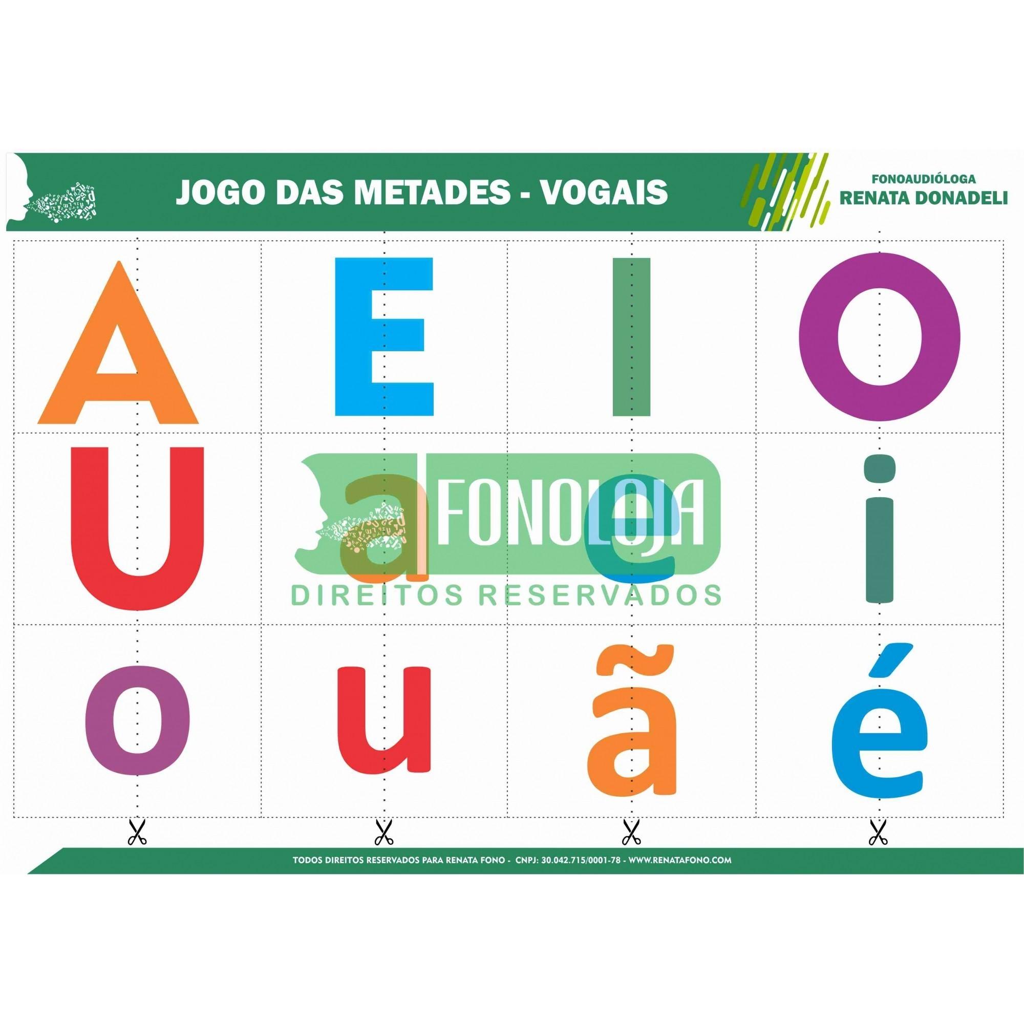 JOGO DAS METADES - FRUTAS E VOGAIS - FORMATO DIGITAL