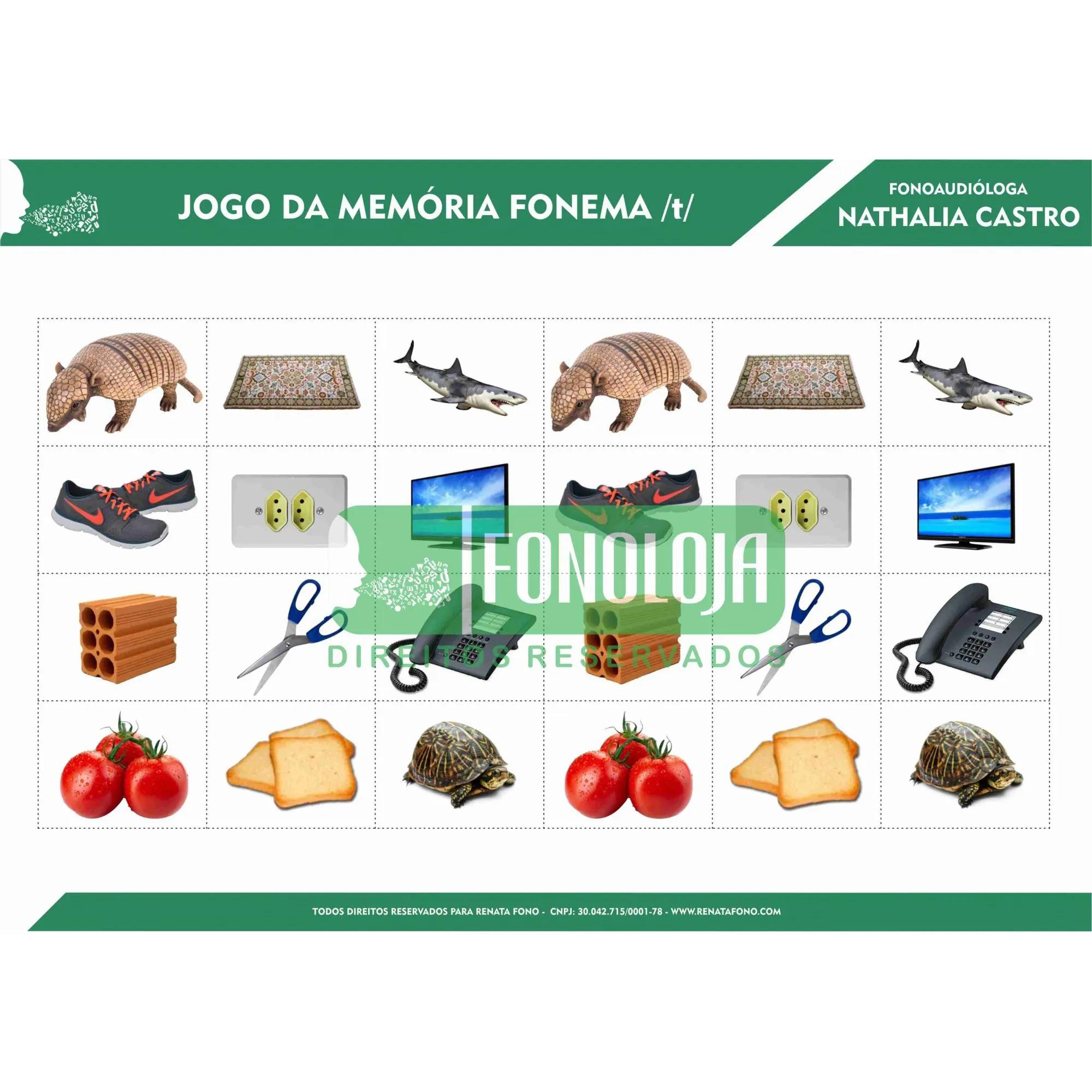 KIT 01 - 06 PRANCHAS JOGOS DA MEMÓRIA FONEMAS PLOSIVOS - FORMATO DIGITAL