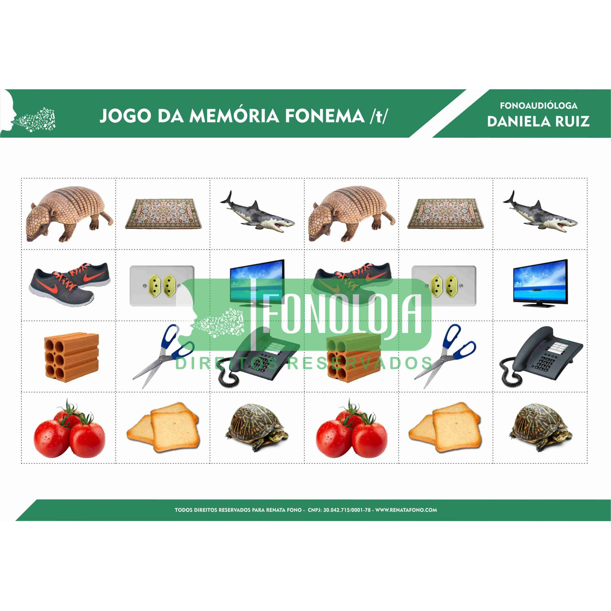KIT 01 - JOGOS DA MEMÓRIA FONEMAS PLOSIVOS