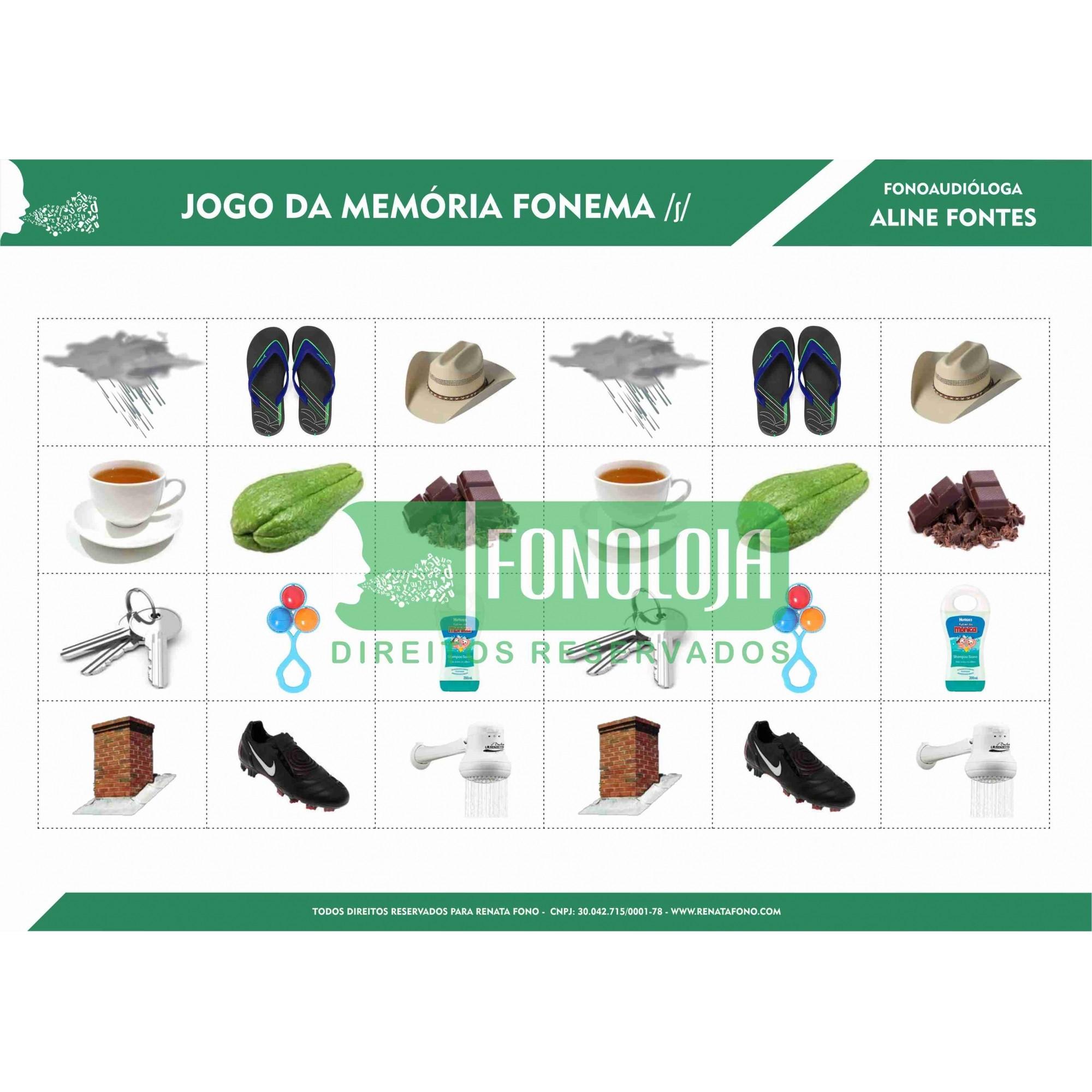 KIT 02 - 06 PRANCHAS JOGOS DA MEMÓRIA FONEMAS FRICATIVOS - FORMATO DIGITAL