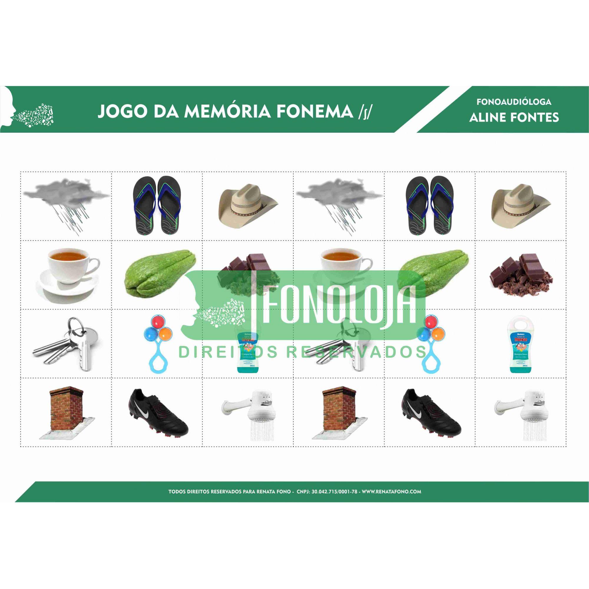KIT 02 - 06 PRANCHAS JOGOS DA MEMÓRIA FONEMAS FRICATIVOS