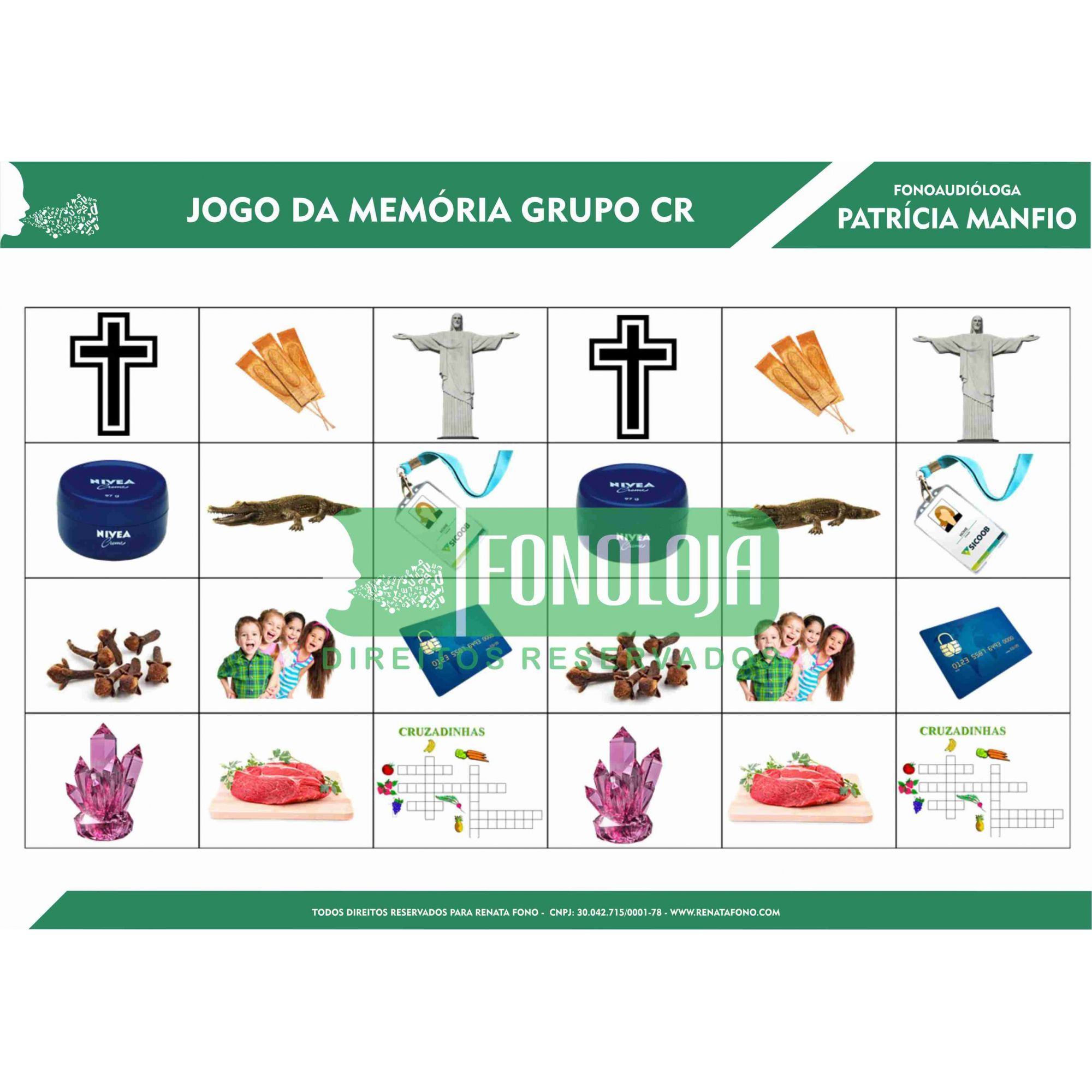 KIT 03 - 07 PRANCHAS JOGOS DA MEMÓRIA GRUPOS COM R - cc(r)v