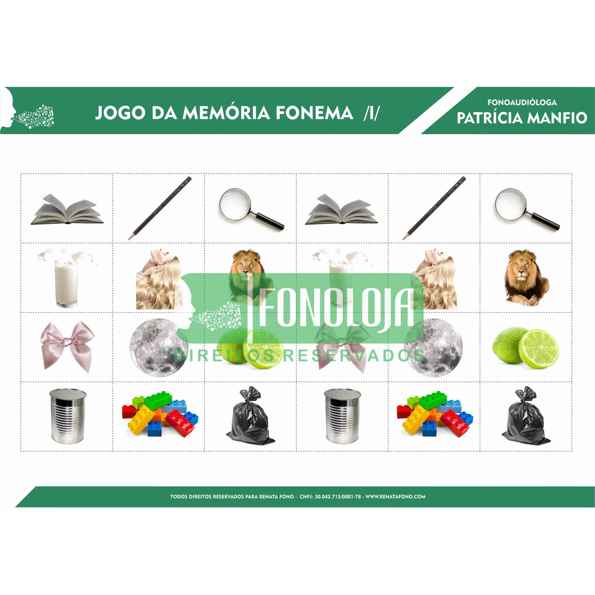 KIT 05 - 05 PRANCHAS JOGOS DA MEMÓRIA NASAIS E LÍQUIDAS