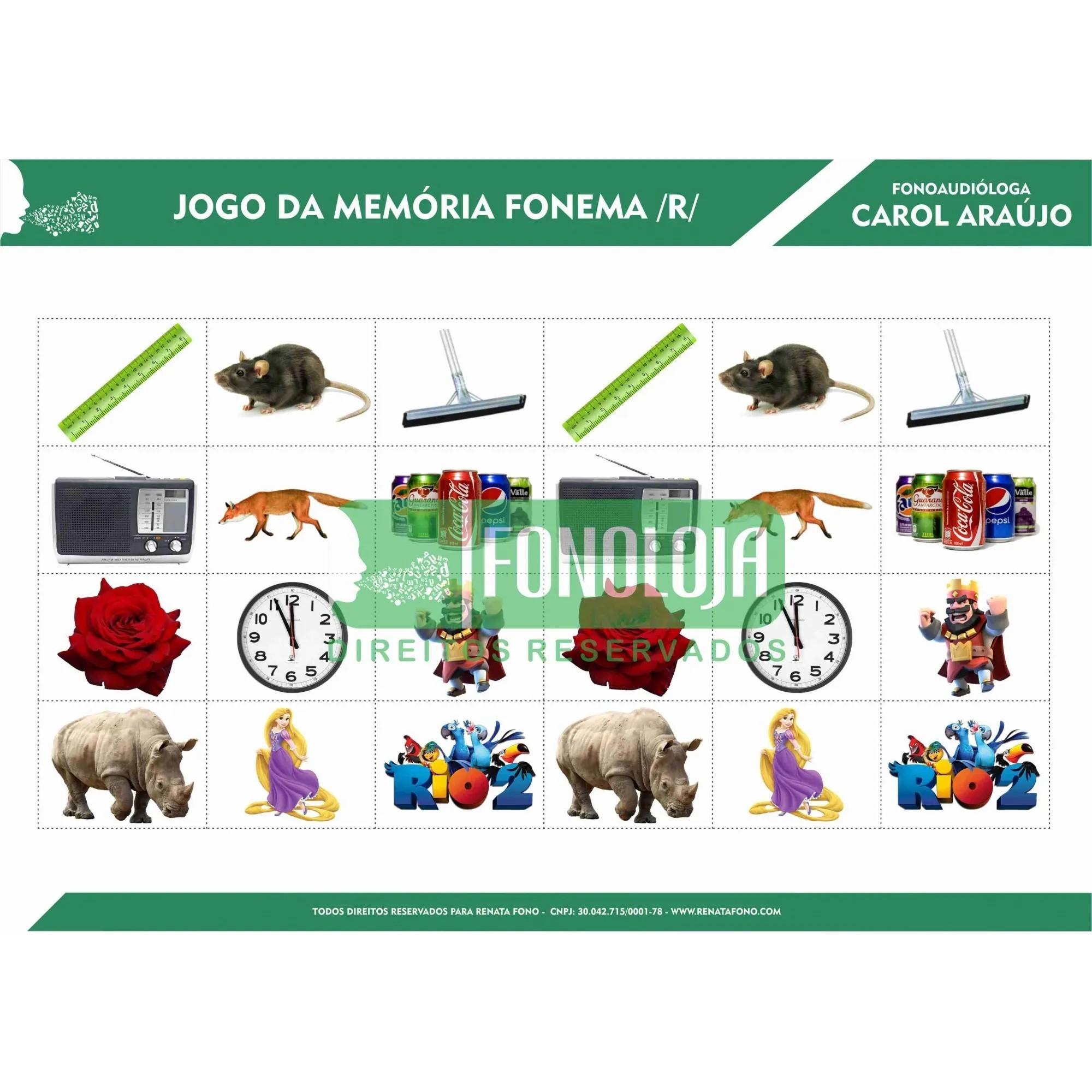 KIT 06 - 04 PRANCHAS JOGOS DA MEMÓRIA ARQUIFONEMAS E VIBRANTES - FORMATO DIGITAL