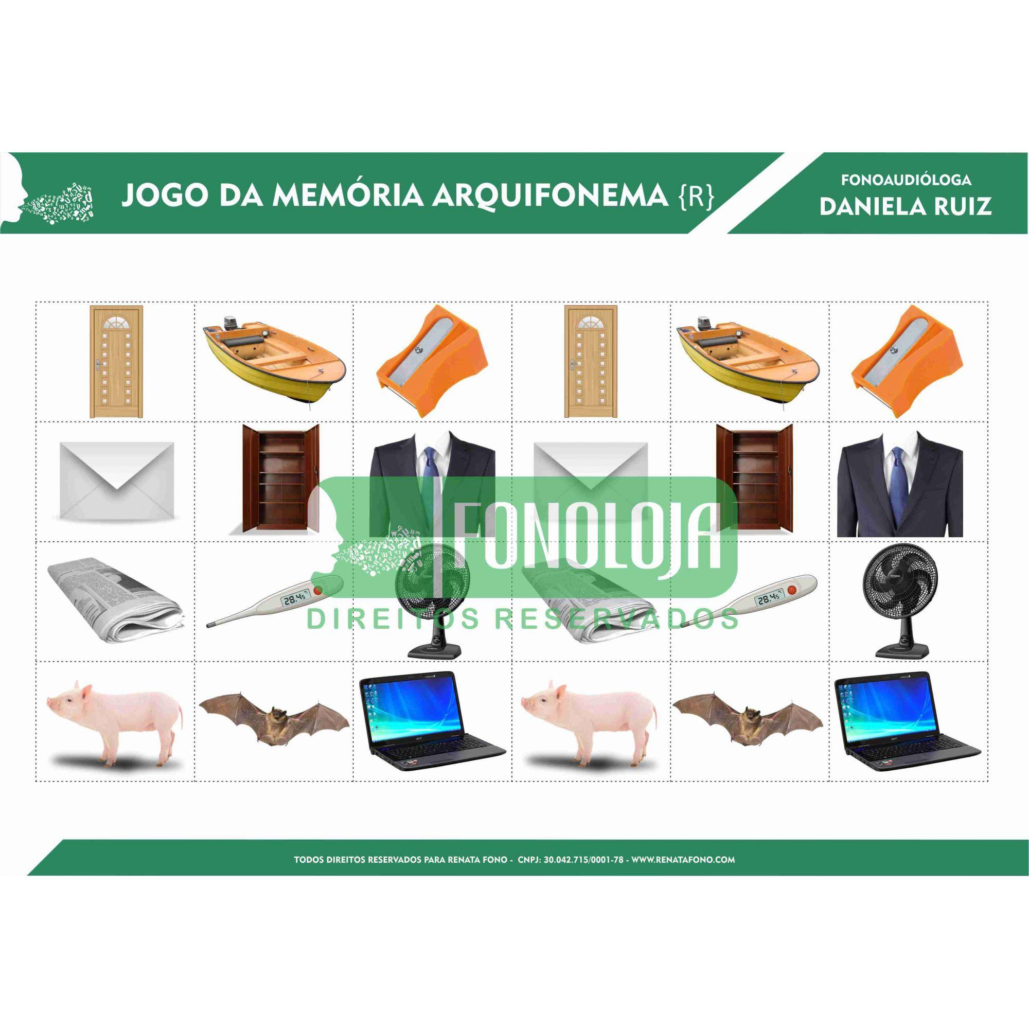 KIT 06 - 04 PRANCHAS JOGOS DA MEMÓRIA ARQUIFONEMAS E VIBRANTES