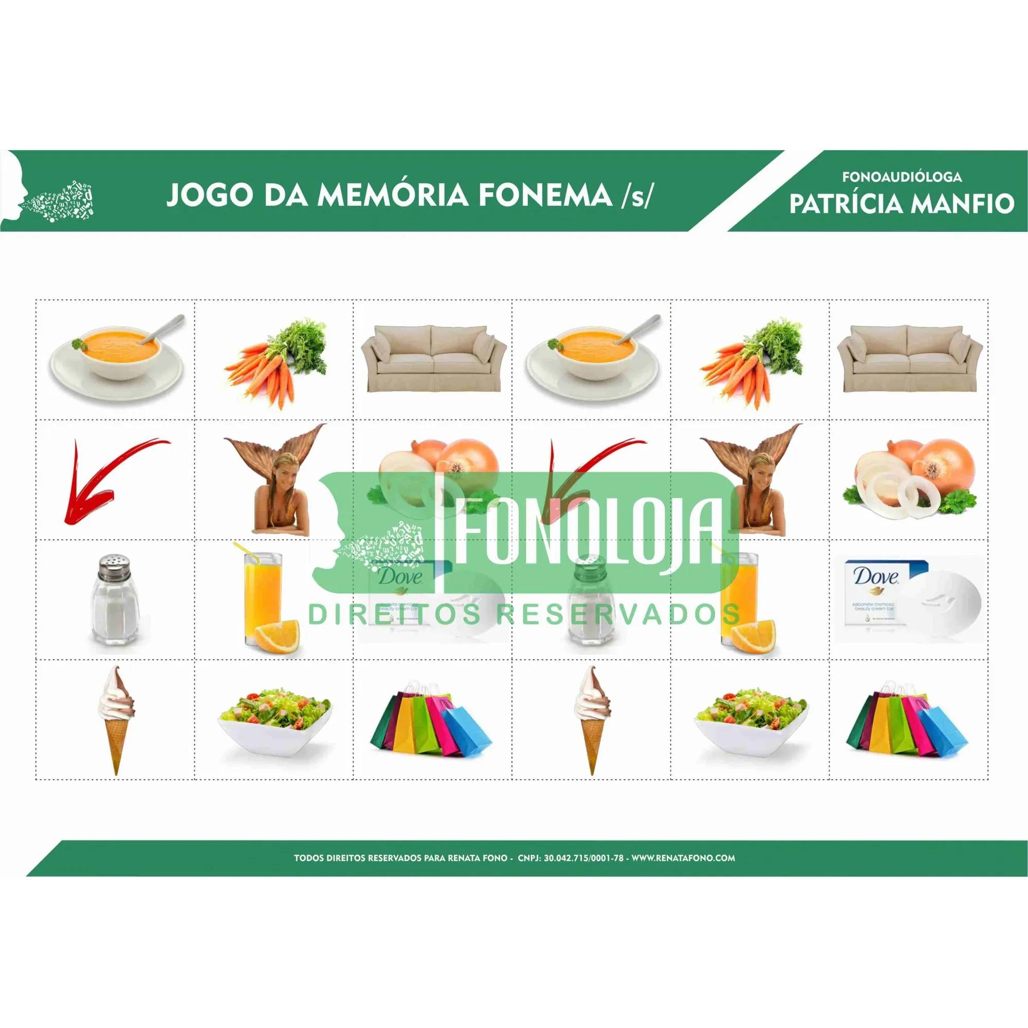KIT 07 - 33 PRANCHAS JOGOS DA MEMÓRIA COMPLETO TODOS FONEMAS, ARQUIFONEMAS E GRUPOS - FORMATO DIGITAL