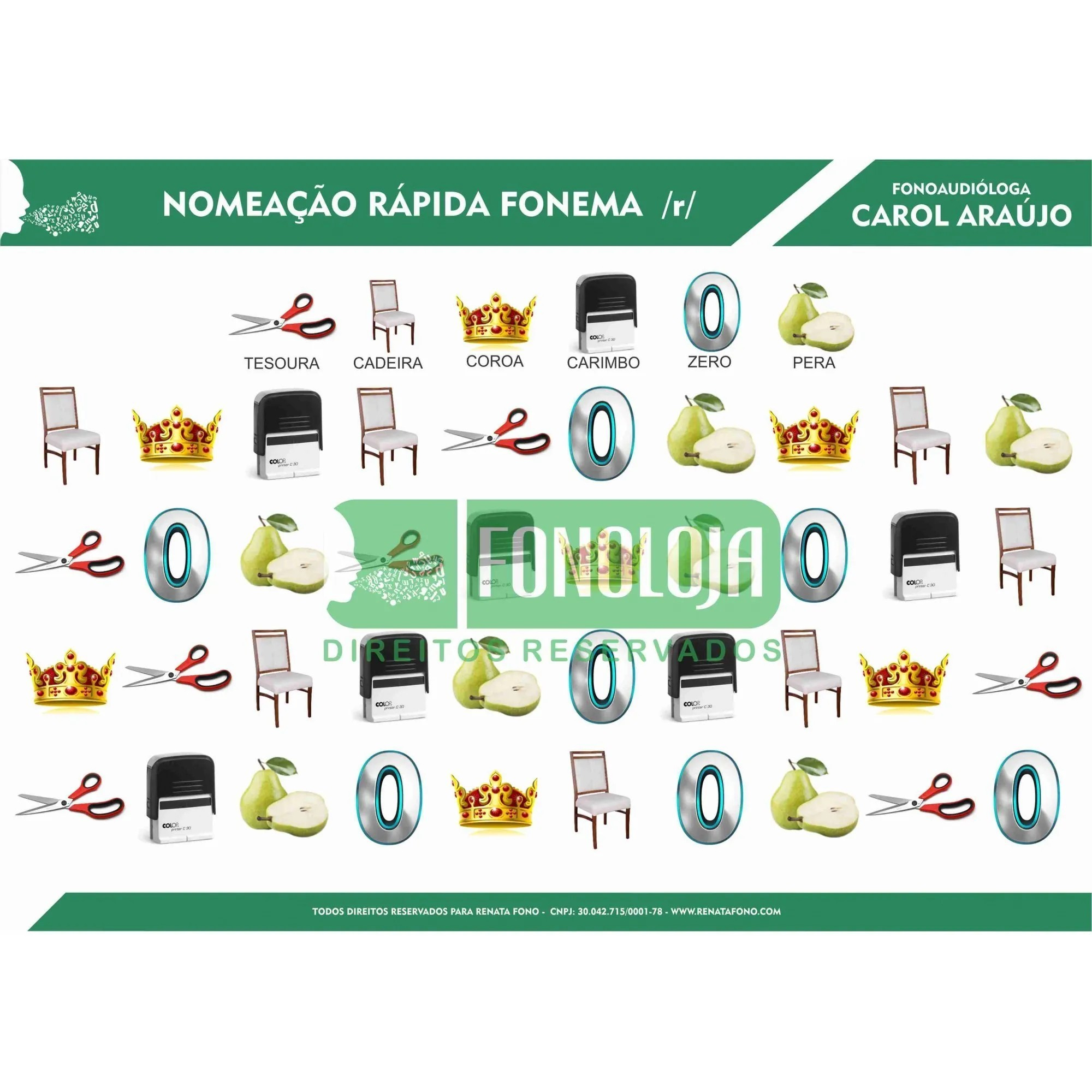 KIT 11 - 04 PRANCHAS NOMEAÇÃO RÁPIDA ARQUIFONEMAS E VIBRANTES - FORMATO DIGITAL