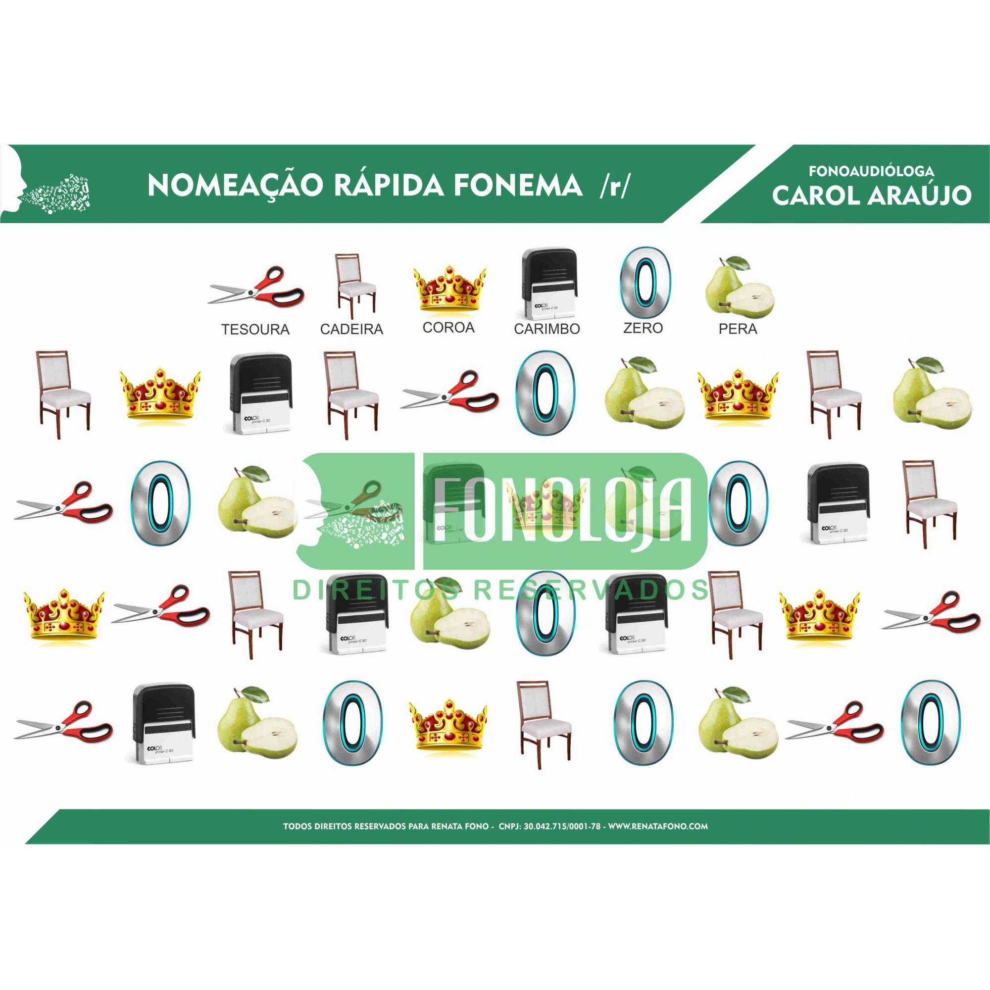 KIT 11 - 04 PRANCHAS NOMEAÇÃO RÁPIDA ARQUIFONEMAS E VIBRANTES