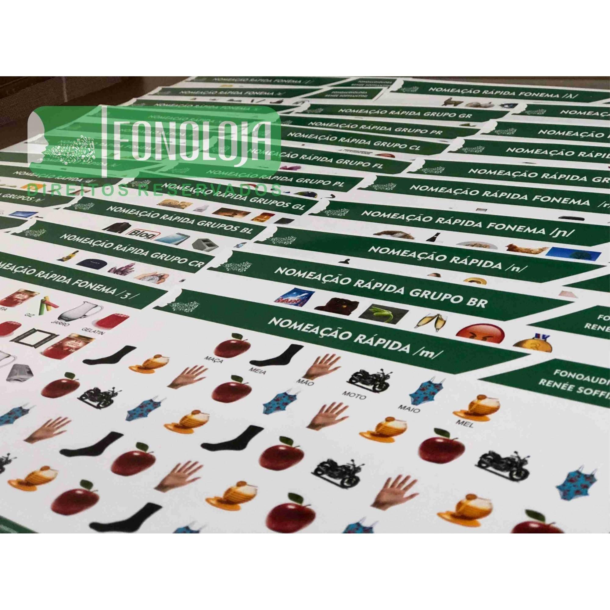 KIT 14 - 33 PRANCHAS NOMEAÇÃO RÁPIDA COMPLETA TODOS FONEMAS, ARQUIFONEMAS E GRUPOS - FORMATO DIGITAL