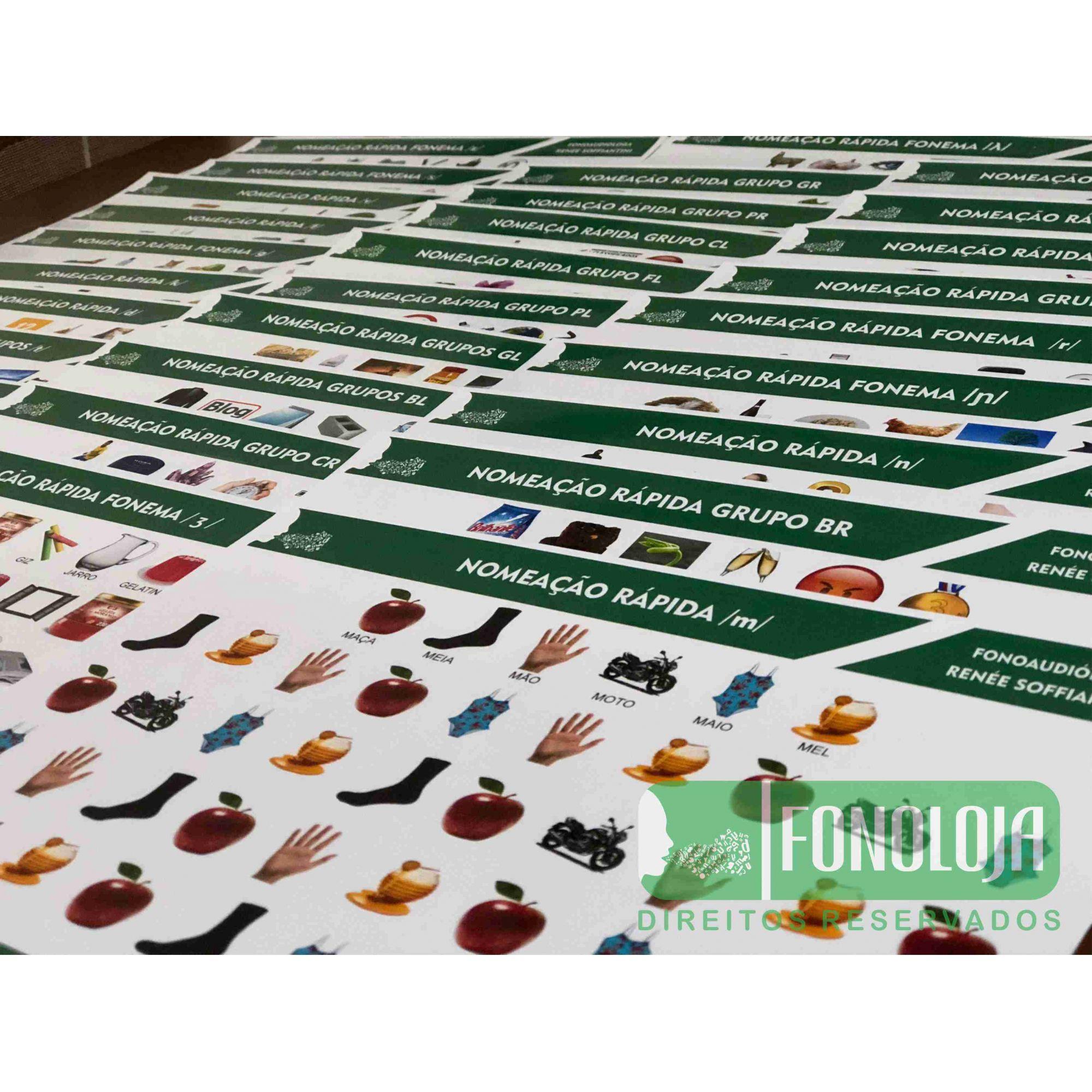 KIT 14 - 33 PRANCHAS NOMEAÇÃO RÁPIDA COMPLETA TODOS FONEMAS, ARQUIFONEMAS E GRUPOS