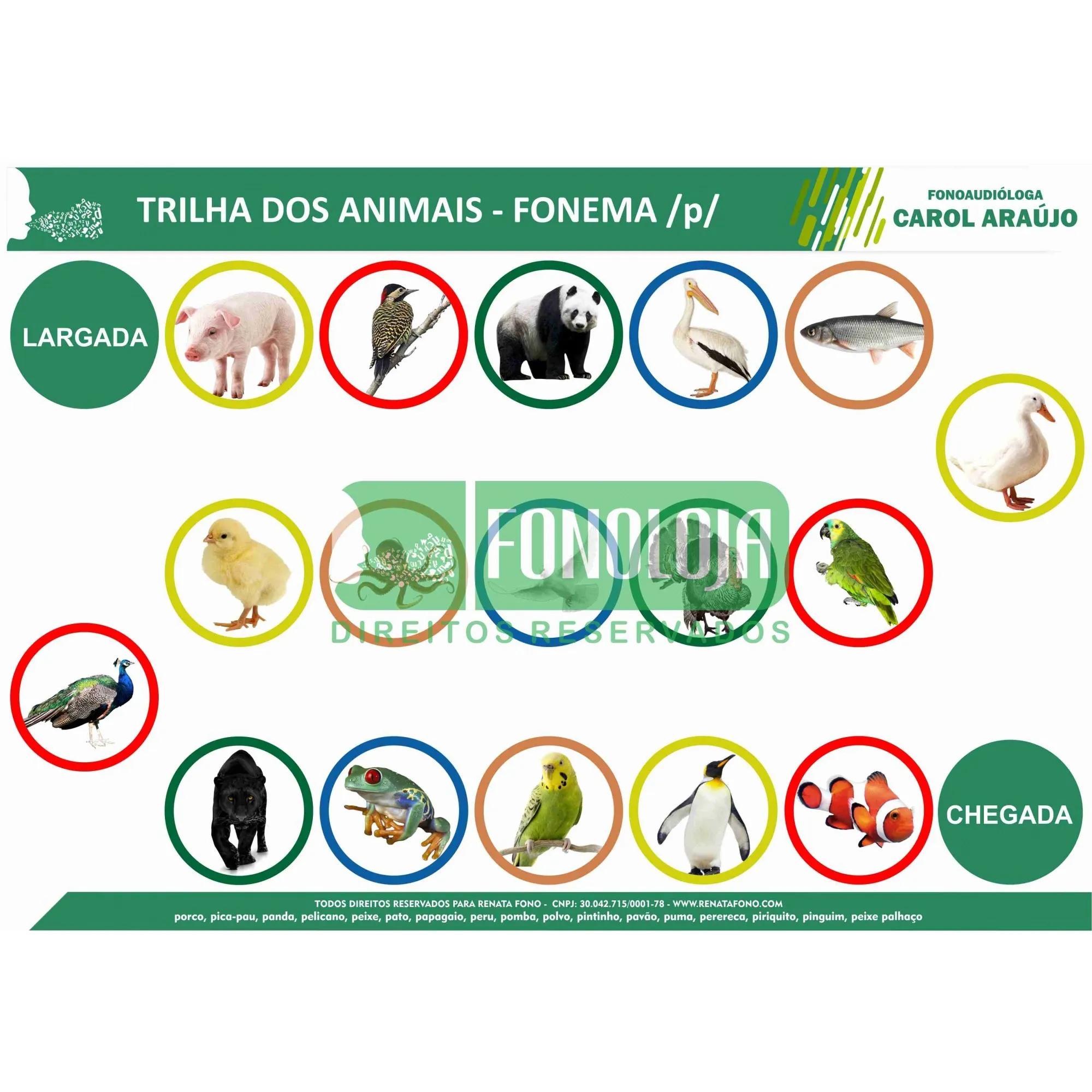 KIT 20 - 06 PRANCHAS JOGOS DE TRILHA FONEMAS PLOSIVOS - TEMÁTICA DE ANIMAIS - FORMATO DIGITAL