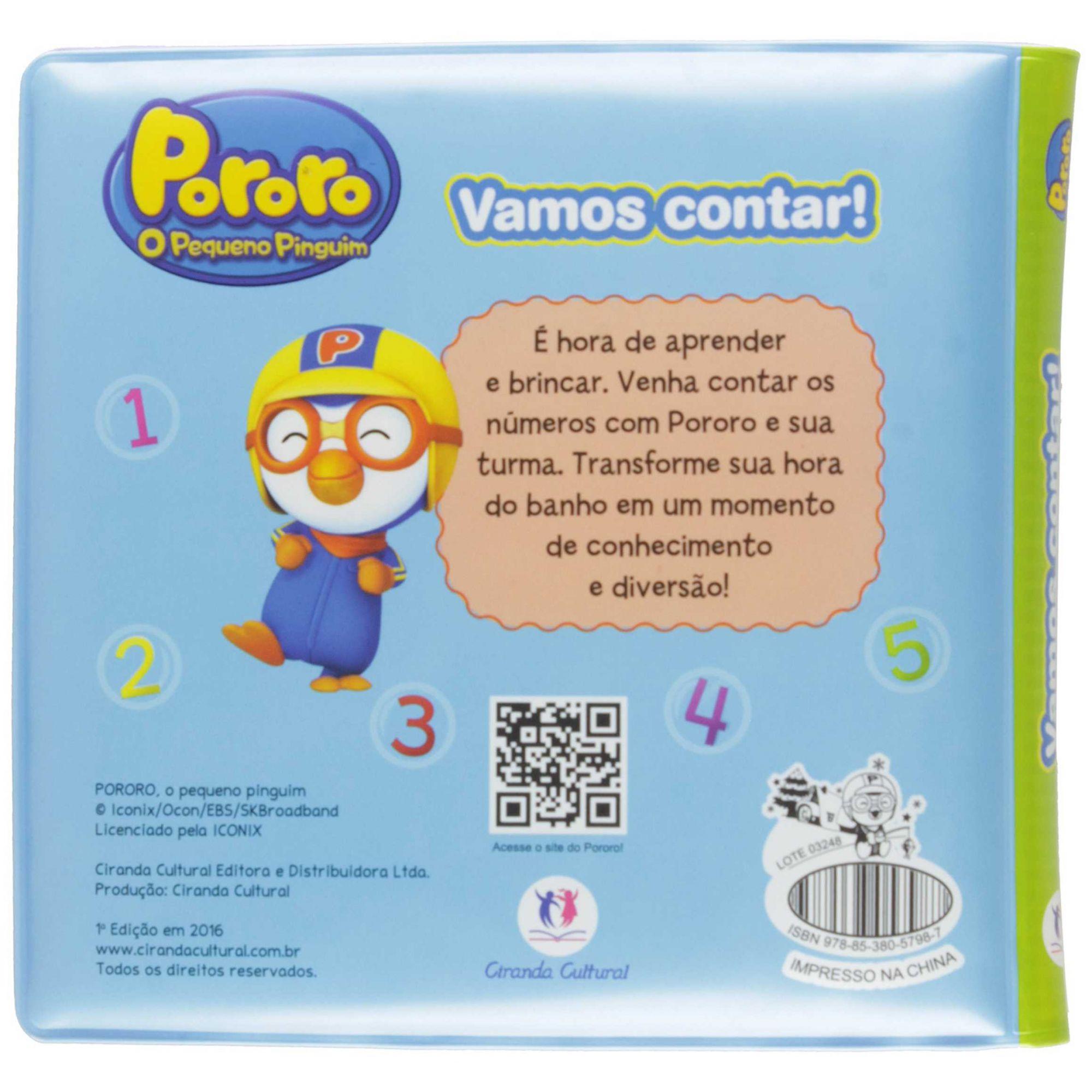 LIVRO DE BANHO VAMOS CONTAR - PORORO O PEQUENO PINGUIM