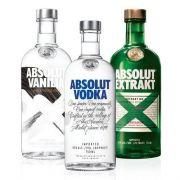 1 Vodka Absolut Original 750ml + 1 Vodka Absolut Extrakt 750ml + 1 Vodka  Absolut Vanilia 750ml
