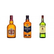 Kit Degustação 1l - 1 Whisky Jameson 1L + 1 Whisky Chivas Regal 12y 1L + 1 Whisky Ballantines 12y 1L