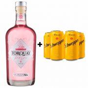 Kit Gin Torquay Pink 750ml + 4 Tônica Schweppes 350ml