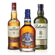 Kit Whisky Ballantines 17 Anos 750ml   Whisky Chivas Regal 18 Anos 750ml   Whisky The Glenlivet 15 Anos