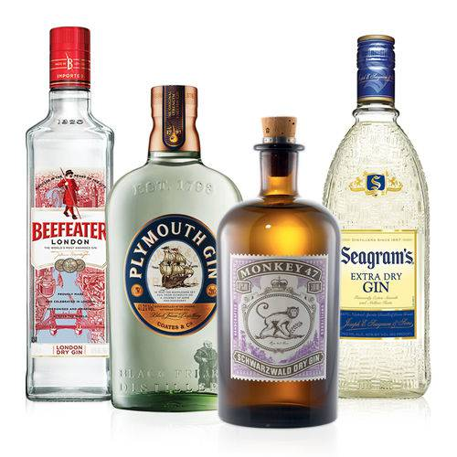 1 Gin Beefeater Dry 750ml + 1 Gin Seagrams 750ml + 1 Gin Plymouth 750ml + 1 Gin Monkey 500ml  - Deliciando Quitanda