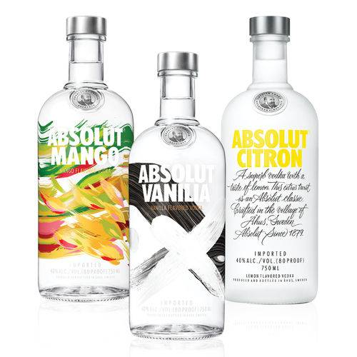 1 Vodka Absolut Mango 750ml +1 Vodka Absolut Citron 750ml + 1 Vodka Absolut Vanilia 750ml  - Deliciando Quitanda