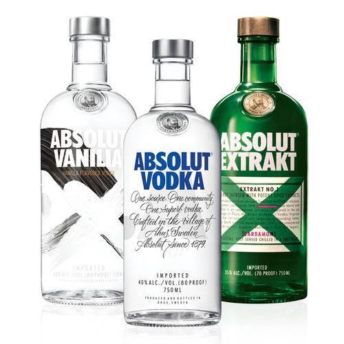 1 Vodka Absolut Original 750ml + 1 Vodka Absolut Extrakt 750ml + 1 Vodka  Absolut Vanilia 750ml  - DQ Comércio
