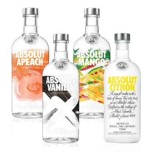 1 Vodka Absolut  Vanilia 750ml + 1 Vodka Absolut Mango 750ml + 1 Vodka Absolut Citron 750ml + 1 Vodka Absolut Apeach 750  - DQ Comércio
