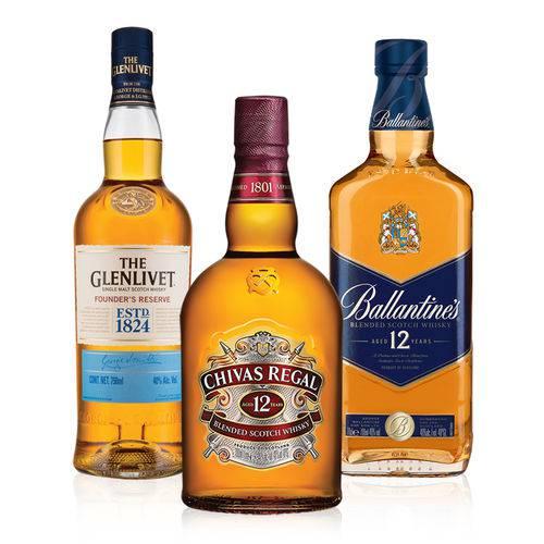 1 Whisky Ballantines 12y 750ml +1 Whisky Chivas Regal 12y 750ml + 1 Whisky Glenlivet Founders Reserve 750ml  - Deliciando Quitanda
