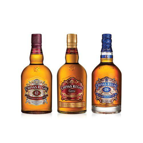 Familia Chivas (1 Chivas Regal 12y 750ml + 1 Chivas Regal Extra 750ml + 1 Whisky Chivas Regal 18y 750ml)  - Deliciando Quitanda