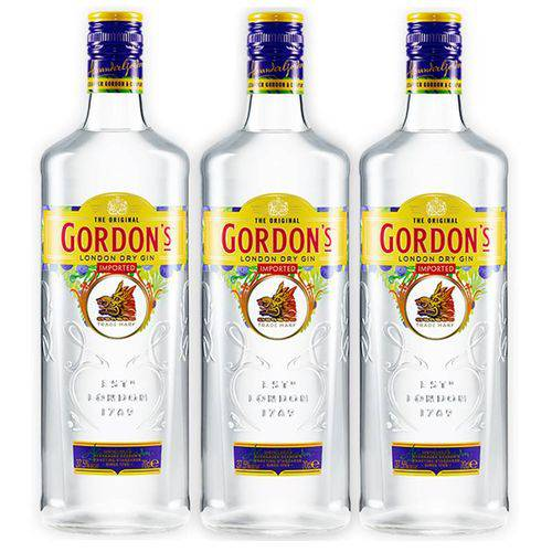 Gin Gordons 750ml 03 Unidades  - DQ Comércio