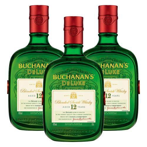 Kit: 3 Whiskys Importado Buchanans 1l 12 Anos  - DQ Comércio