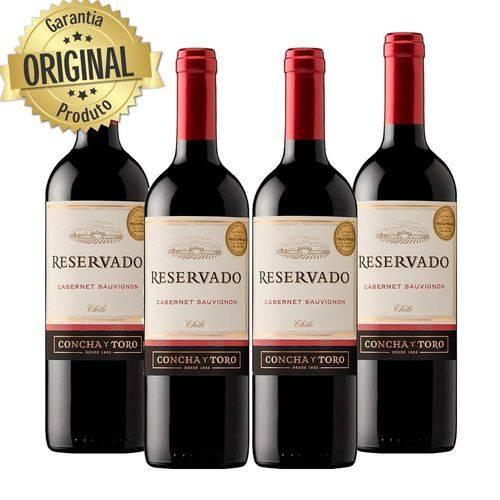 Kit : 4 Vinhos Importados Chileno Concha Y Toro Reservado Cabernet Sauvignon Tinto 750ml  - Deliciando Quitanda