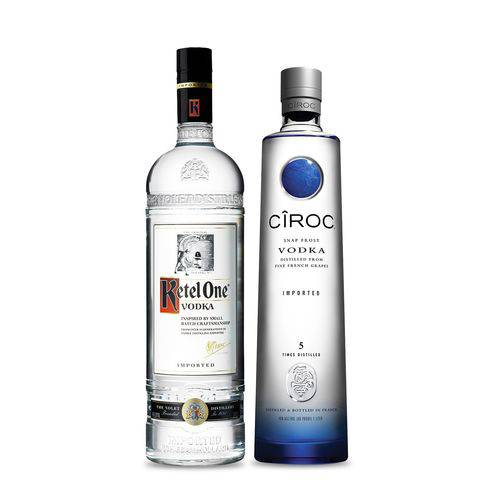 Kit com 1 Vodka Ketel One 1lt + 1 Vodka Ciroc Natural 750ml  - DQ Comércio