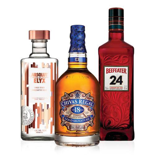 Kit composto por: 1 Vodka Absolut Elyx 750ml + 1 Whisky Chivas Regal 18y 750ml + 1 Gin Beefeater 24 750ml  - Deliciando Quitanda
