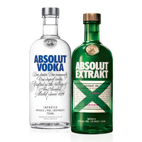 Kit composto por: 1 Vodka Absolut Original 750ml + 1 Vodka Absolut Extrakt 750ml  - DQ Comércio